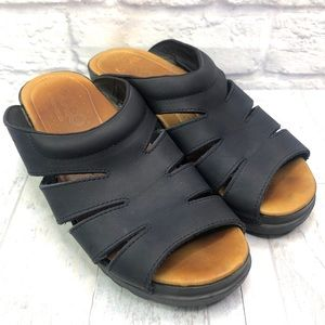 Ecco Black Leather Comfort Slip On Sandals